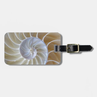 Nautilus Seashell | Golden Spiral Luggage Tag