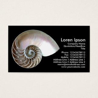 Nautilus Shell - Black Business Card