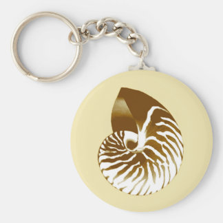Nautilus shell - brown, white and beige keychain
