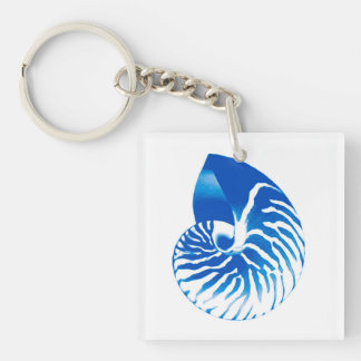 Nautilus shell - cobalt blue and white keychain