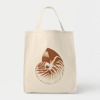 Nautilus shell - cocoa brown and white tote bag