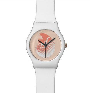 Nautilus shell - coral orange and white wristwatches