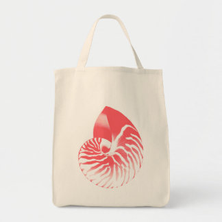 Nautilus shell - coral pink and white tote bag