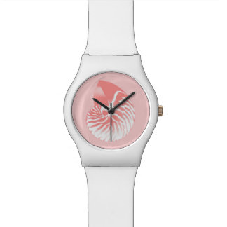 Nautilus shell - coral pink and white watches