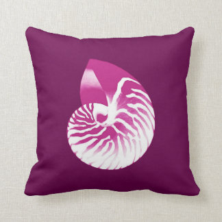 Nautilus shell - eggplant purple and white pillow