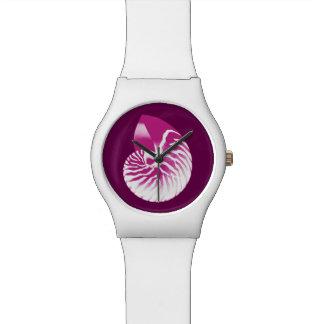 Nautilus shell - eggplant purple and white watch