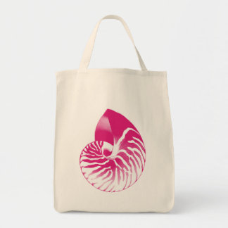 Nautilus shell - Fuchsia Pink and White Tote Bag