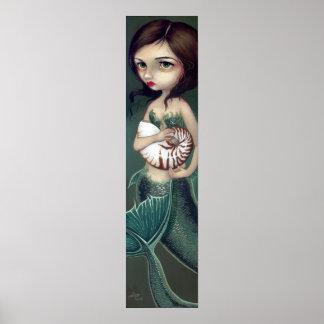 Nautilus Shell Mermaid Art Print