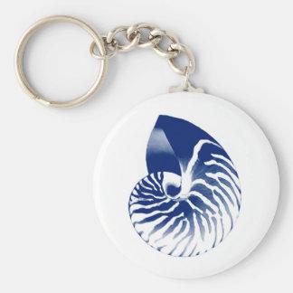 Nautilus shell - navy blue and white keychain