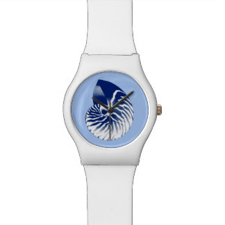 Nautilus shell - navy, white & light blue wrist watches