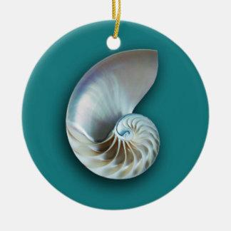 Nautilus shell on teal ceramic ornament