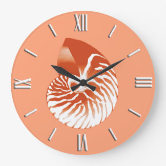 Nautilus shell - terracotta and white large clock