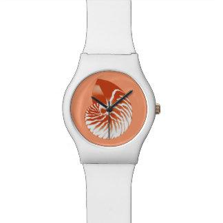 Nautilus shell - terracotta and white wristwatches