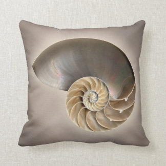Nautilus shell throw pillow