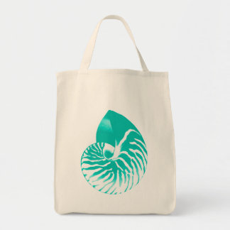 Nautilus shell - turquoise, aqua and white tote bag