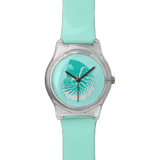 Nautilus shell - turquoise, aqua and white wristwatch