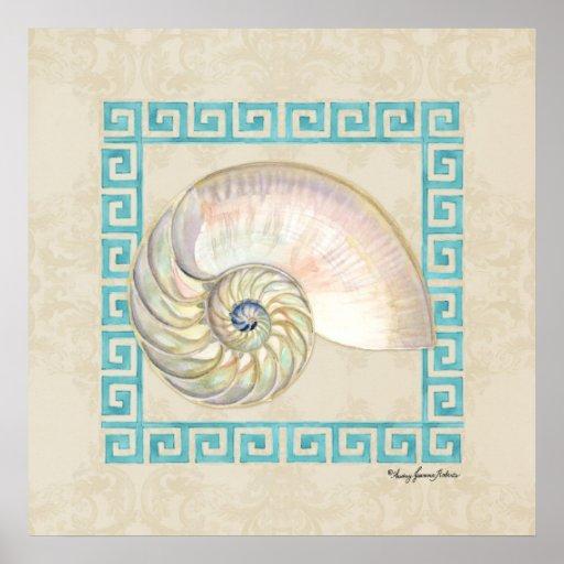 Nautilus Shell Watercolor Greek Key Damask Beach Print