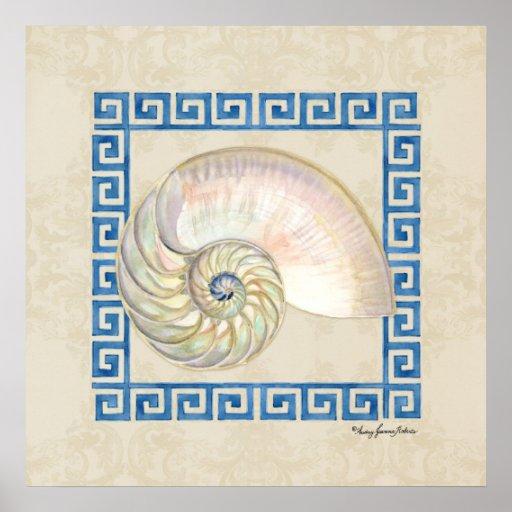 Nautilus Shell Watercolor Greek Key Damask Beach Posters