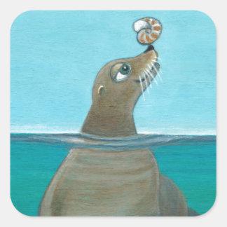 """Nautilus"" The Sea Lion Square Sticker"