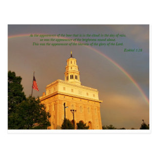 Nauvoo Illinois Temple Embraced By a Rainbow Postcard