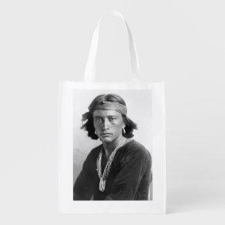 Navajo Boy - Historic Photo by Karl E. Moon Reusable Grocery Bag