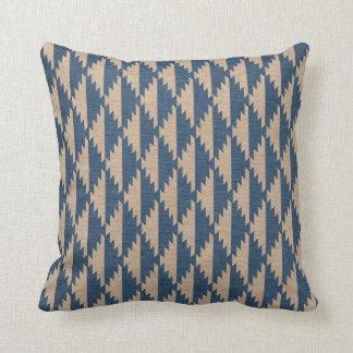 Navajo Diamond Pattern Denim Blue Throw Pillow