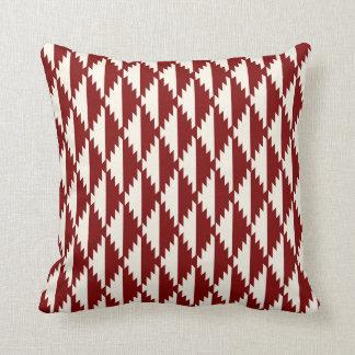 Navajo Diamond Tribal Pattern Red and Cream Throw Pillow