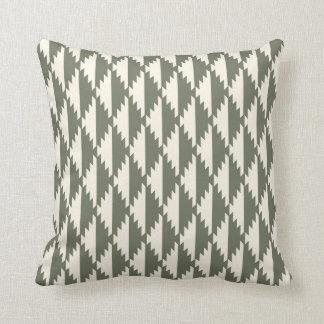 Navajo Diamond Tribal Pattern Sage and Cream Throw Pillow