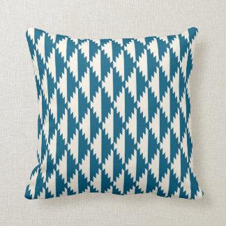 Navajo Diamond Tribal Pattern Turquoise and Cream Throw Pillow