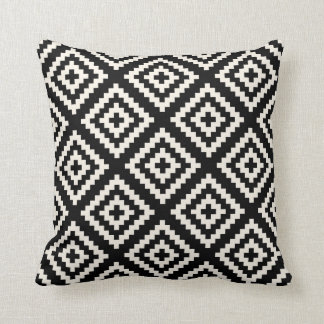 Navajo Geometric Black and Cream Pattern Throw Pillow