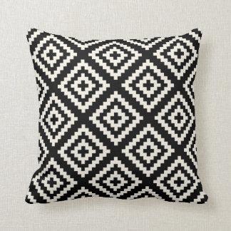 Navajo Geometric Black and Cream Pattern Throw Pillow