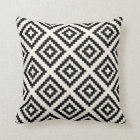 Navajo Geometric Pattern Black and Cream Throw Pillow
