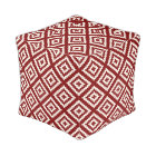 Navajo Geometric Pattern in Brick Red and White Pouf