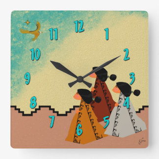 Navajo Girls Square Wall Clock