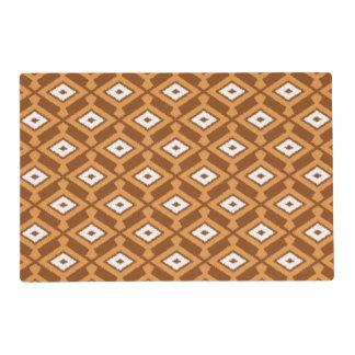 Navajo Ikat Pattern - Brown, Rust and Cream Laminated Placemat