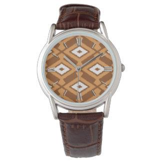 Navajo Ikat Pattern - Brown, Rust and Cream Watch