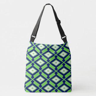 Navajo Ikat Pattern - Green, Indigo Blue and White Crossbody Bag