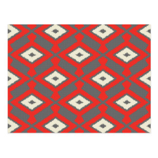 Navajo Ikat Pattern - Red, Grey and Beige Postcard