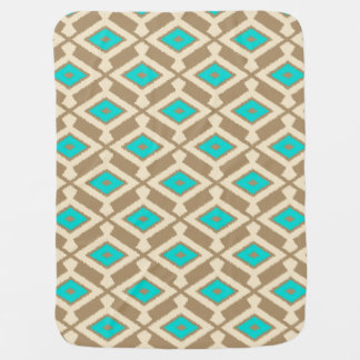 Navajo Ikat Pattern - Turquoise, Taupe and Beige Baby Blanket