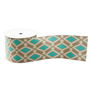 Navajo Ikat Pattern - Turquoise, Taupe and Beige Grosgrain Ribbon