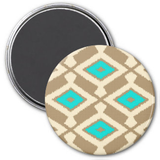Navajo Ikat Pattern - Turquoise, Taupe and Beige Magnets