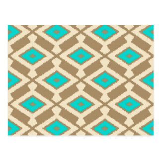 Navajo Ikat Pattern - Turquoise, Taupe and Beige Postcard