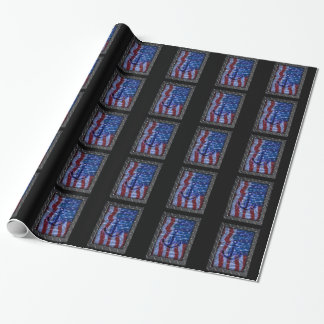 Naval American Flag and Anchor Wrapping Paper