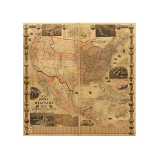 Naval and Military Map of the United States (1862) Wood Wall Art