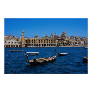 "Naval Bakery"" seen across the harbor from Senglea, Poster"