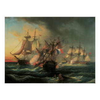 Naval Combat - Rights of Man and Indefatigable Poster