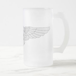 Naval Flight Officer Wings - Silver Frosted Glass Beer Mug