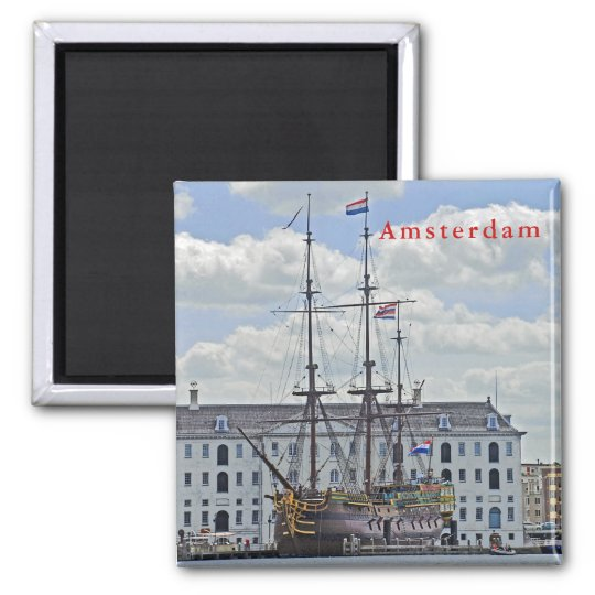 Naval frigate, moored to the pier in Amsterdam. Magnet