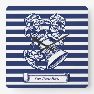 Naval style square wall clock