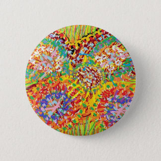 NAVEEN All Smiles: Abstract Flower Patterns 2 Inch Round Button
